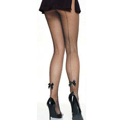 Fishnet Pantyhose w Bow Seam