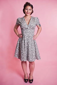 40s Black Floral Millie Dress by Heart of Haute - Cats Like Us