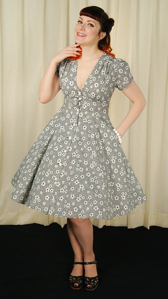 40s Black Floral Millie Dress by Heart of Haute : Cats Like Us