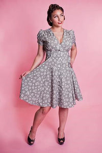 40s Black Floral Millie Dress - Cats Like Us
