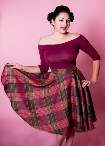 Heart of Haute Wine Country Plaid Haute Skirt for sale at Cats Like Us - 1
