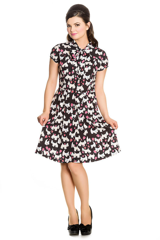 Aggy Terrier Dog Tie Dress by Hell Bunny - Cats Like Us