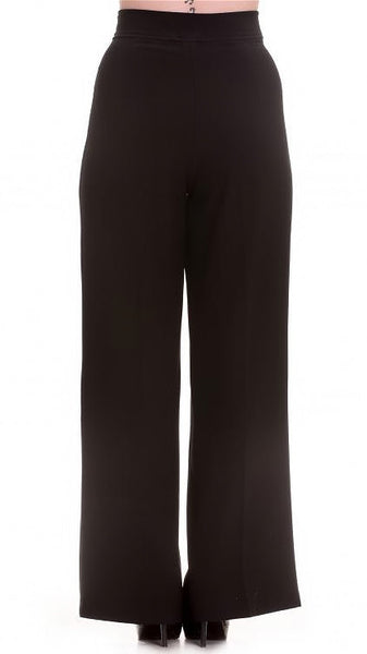 Black Nelly Bly Sailor Trousers by Hell Bunny : Cats Like Us