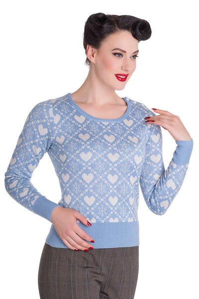 Blue Aurora Snow Love Sweater
