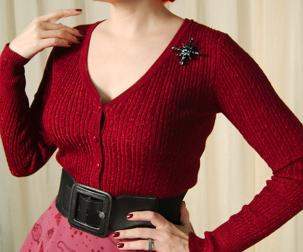 Burgundy Piaf Ribbed Cardigan by Hell Bunny : Cats Like Us