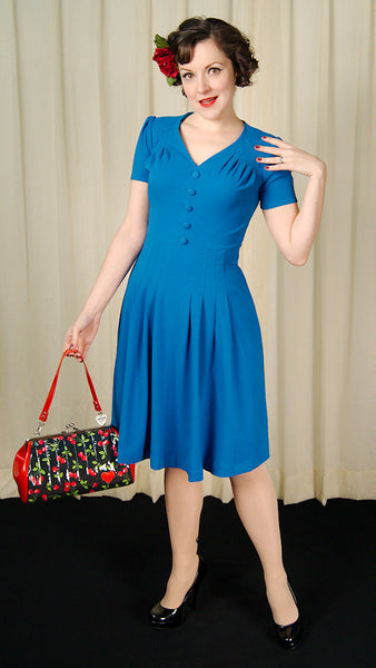 Cobalt 1940s Moira Dress by Hell Bunny : Cats Like Us
