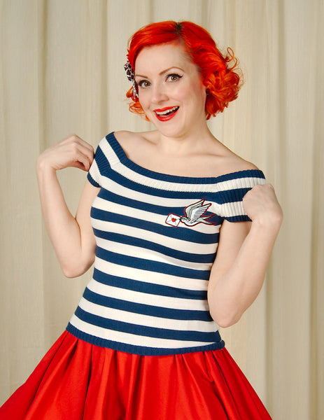 Hailey Striped Sparrow Top by Hell Bunny : Cats Like Us