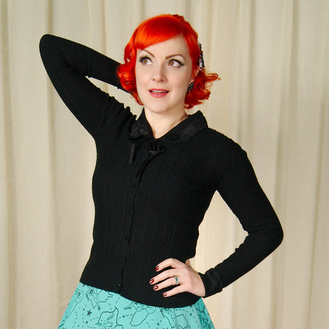 Josephine Ribbed Tie Cardigan by Hell Bunny : Cats Like Us