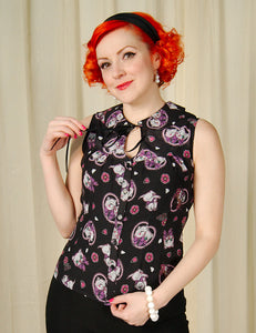 Kitty Blossom Tie Blouse by Hell Bunny : Cats Like Us