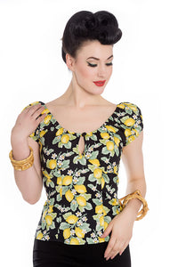 Lemonade Keyhole Peasant Top by Hell Bunny : Cats Like Us