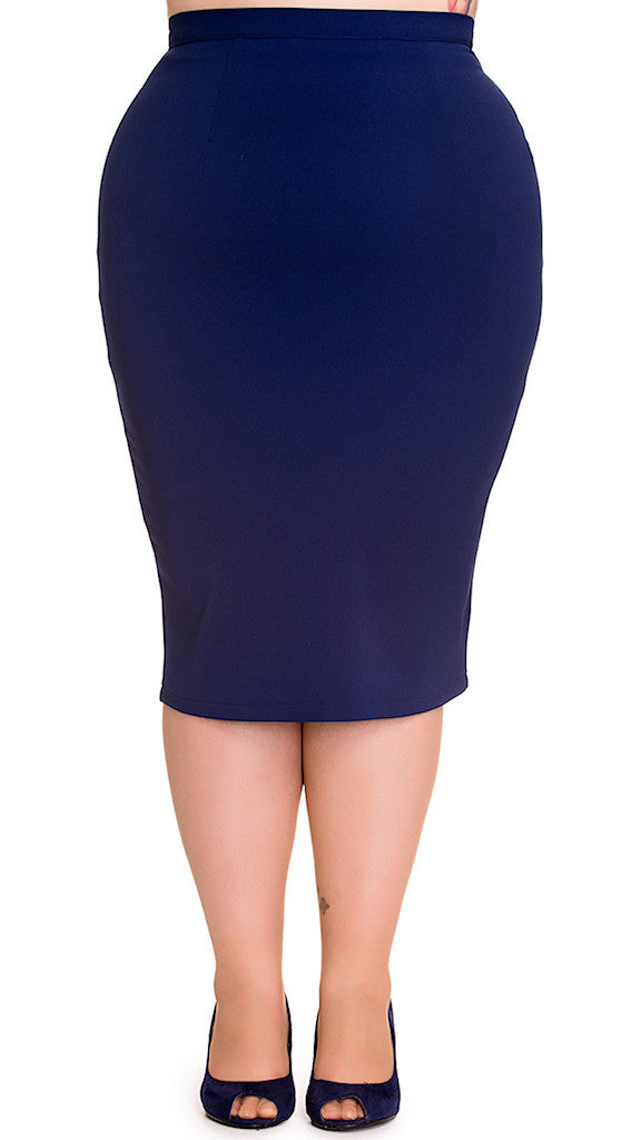 Navy Joni Pencil Skirt by Hell Bunny : Cats Like Us