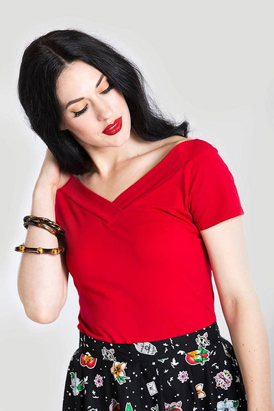 Red Alex V Neck Top