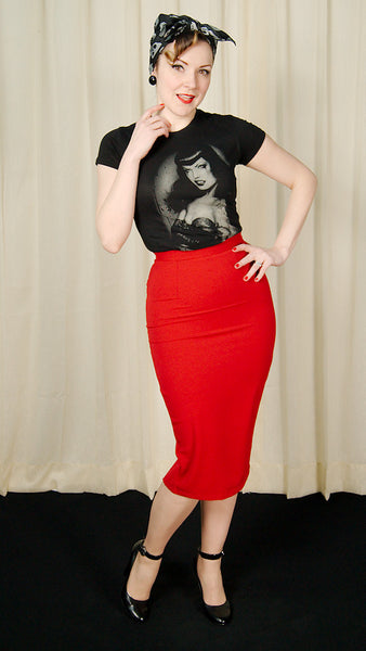 Hell Bunny Red Joni Pencil Skirt for sale at Cats Like Us - 4