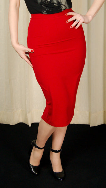Hell Bunny Red Joni Pencil Skirt for sale at Cats Like Us - 6