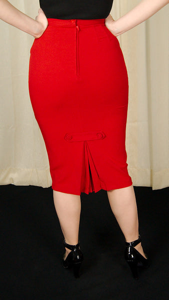 Hell Bunny Red Joni Pencil Skirt for sale at Cats Like Us - 7