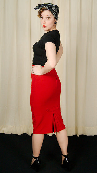 Hell Bunny Red Joni Pencil Skirt for sale at Cats Like Us - 8