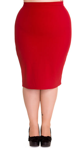 Red Joni Pencil Skirt - Cats Like Us