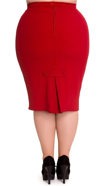 Hell Bunny Red Joni Pencil Skirt for sale at Cats Like Us - 2