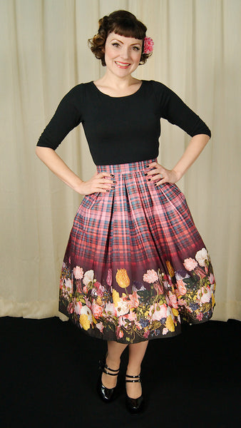 Tulipa Floral Plaid Skirt - Cats Like Us