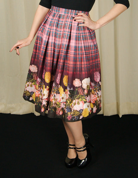 Hell Bunny Tulipa Floral Plaid Skirt for sale at Cats Like Us - 6