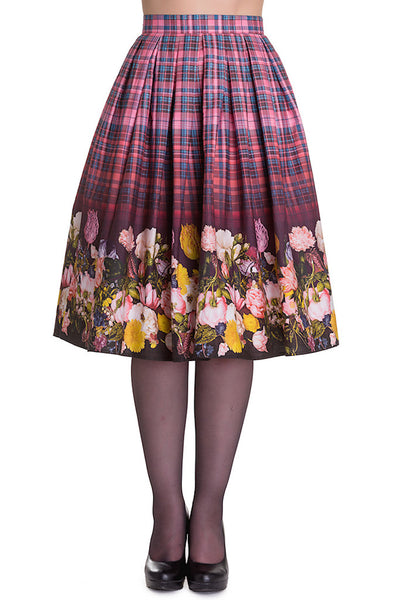 Hell Bunny Tulipa Floral Plaid Skirt for sale at Cats Like Us - 7