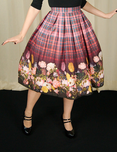Hell Bunny Tulipa Floral Plaid Skirt for sale at Cats Like Us - 1
