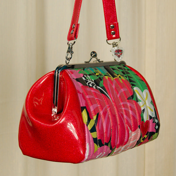 Hold Fast Handbags Hibiscus Honey Kisslock Handbag for sale at Cats Like Us - 3