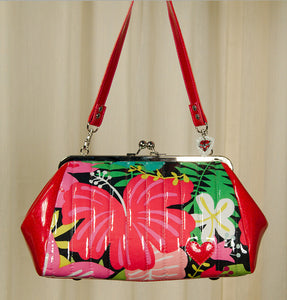 Hold Fast Handbags Hibiscus Honey Kisslock Handbag for sale at Cats Like Us - 1