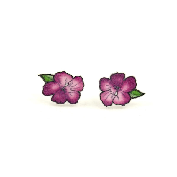 House of Wonderland Purple Hibiscus Flower Earrings for sale at Cats Like Us - 1