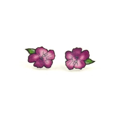 Purple Hibiscus Flower Earrings - Cats Like Us