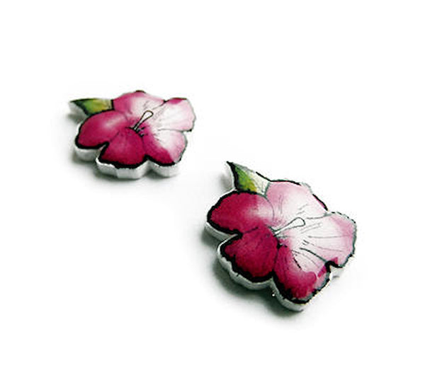 House of Wonderland Purple Hibiscus Flower Earrings for sale at Cats Like Us - 4
