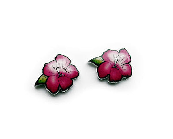House of Wonderland Purple Hibiscus Flower Earrings for sale at Cats Like Us - 3