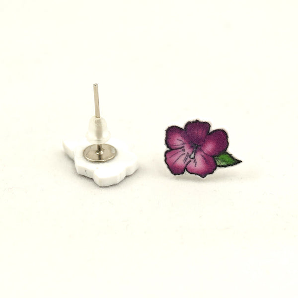House of Wonderland Purple Hibiscus Flower Earrings for sale at Cats Like Us - 2