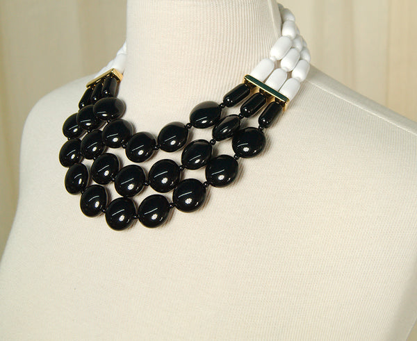 Black & White Tiered Necklace by Hullabaloo : Cats Like Us