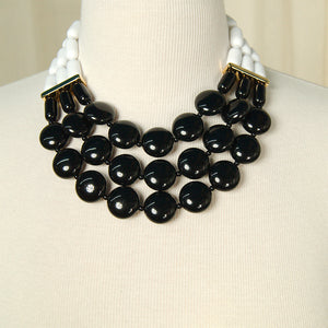 Black & White Tiered Necklace by Hullabaloo - Cats Like Us