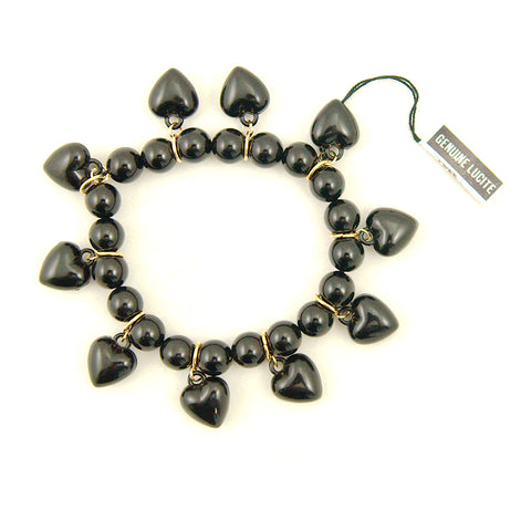 Black Heart Charm Bracelet by Hullabaloo : Cats Like Us
