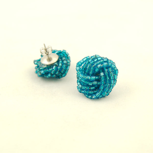 Blue Glass Bead Knot Earrings by Hullabaloo : Cats Like Us
