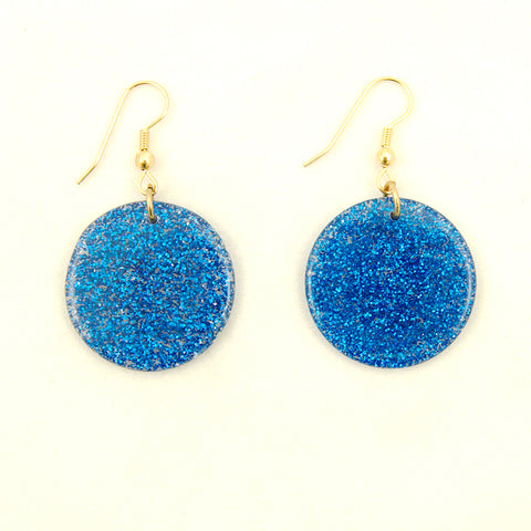 Blue Glitter Disc Earrings
