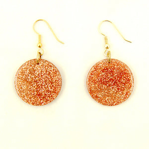 Copper Glitter Disc Earrings