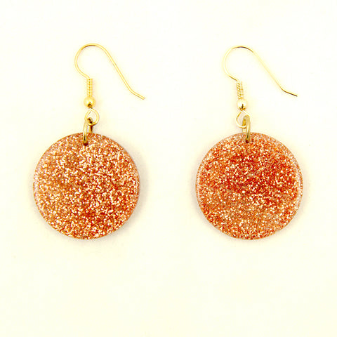 Copper Glitter Disc Earrings by Hullabaloo : Cats Like Us