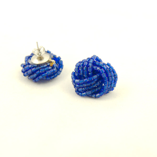 Dark Blue Glass Bead Earrings by Hullabaloo : Cats Like Us