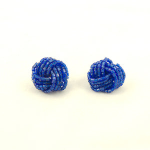 Dark Blue Glass Bead Earrings