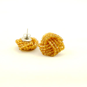 Gold Glass Bead Knot Earrings by Hullabaloo : Cats Like Us