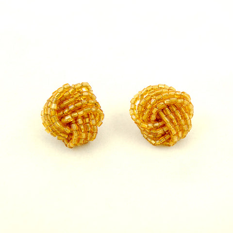 Gold Glass Bead Knot Earrings
