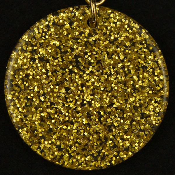 Gold Glitter Disc Earrings by Hullabaloo : Cats Like Us
