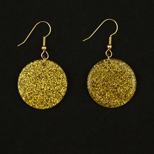Gold Glitter Disc Earrings