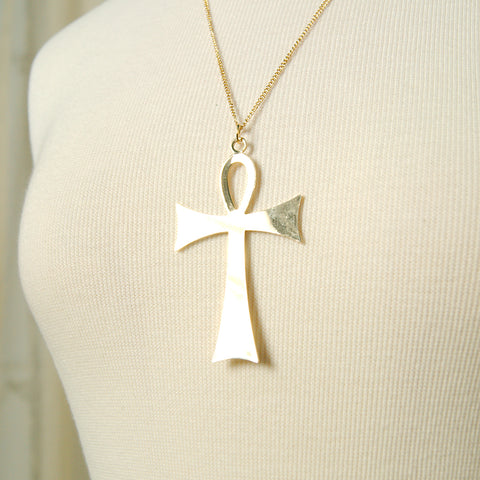Gold Life Ankh Necklace by Hullabaloo : Cats Like Us