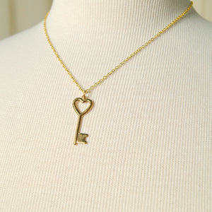 Heart of Gold Key Necklace
