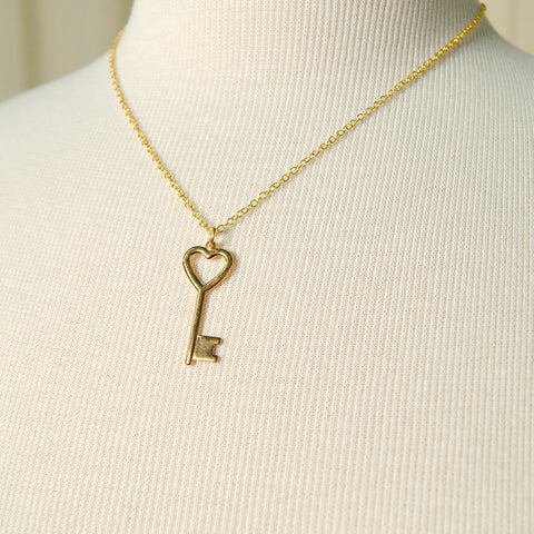 Heart of Gold Key Necklace by Hullabaloo : Cats Like Us