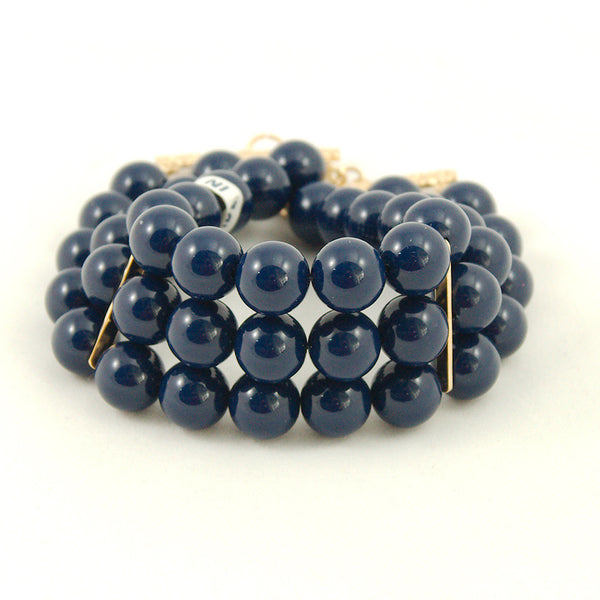 Navy Triple Jet Set Bracelet - Cats Like Us